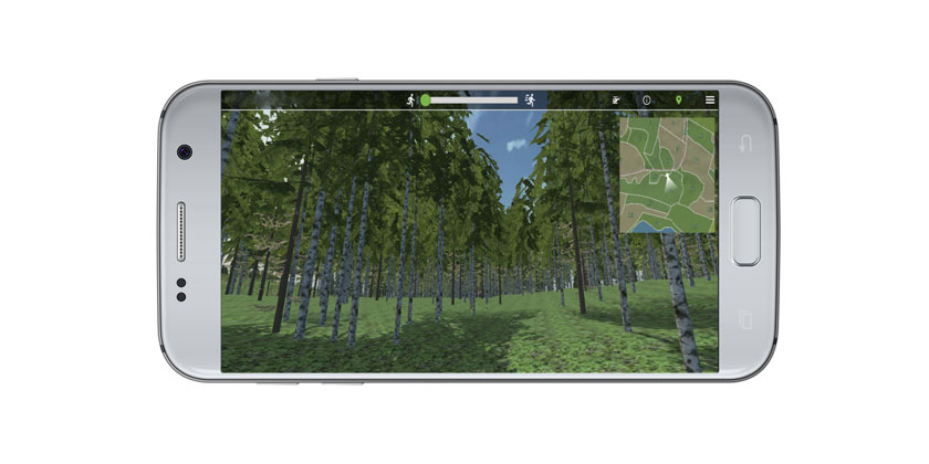 Mobile phone with image of forest