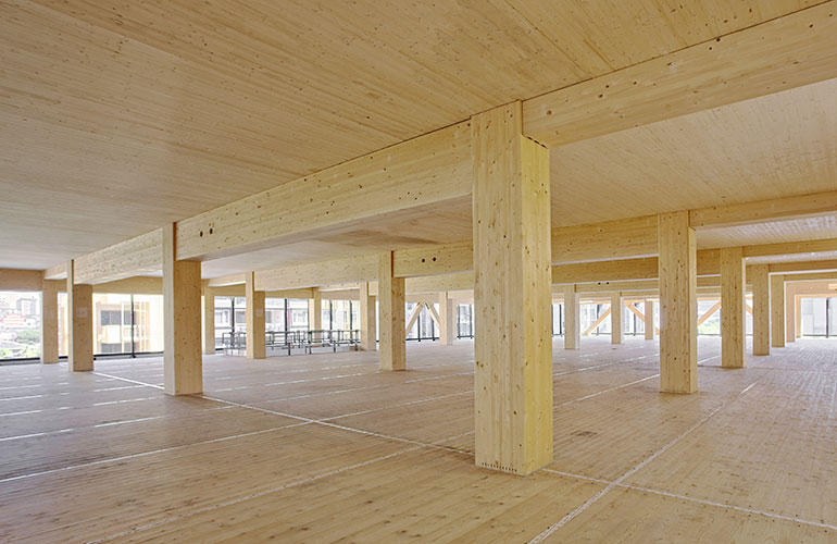 Inside the wooden office building that is under construction