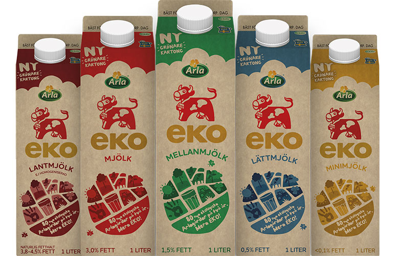 Milk cartons from Arla with the new paperboard Natura Life by Stora Enso