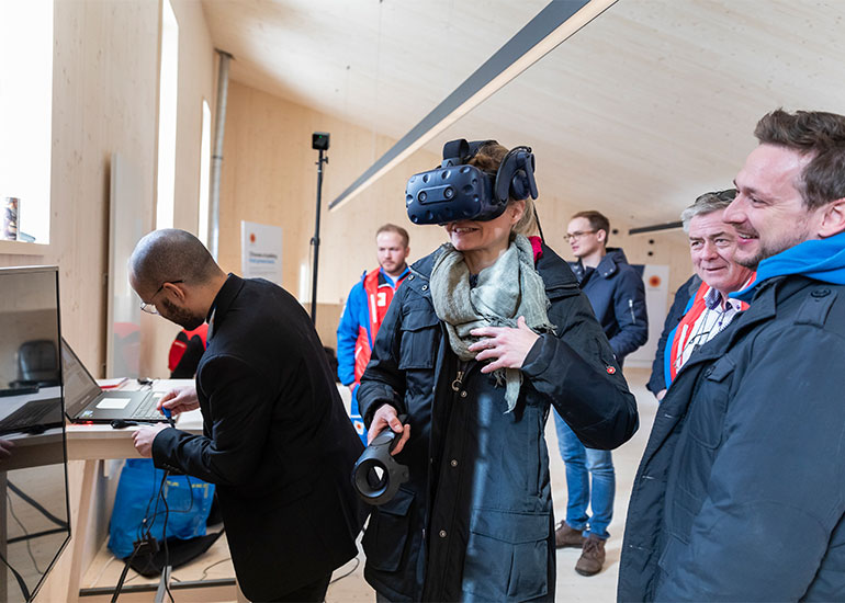 Virtual reality goggles in use at Seefeld pavilion