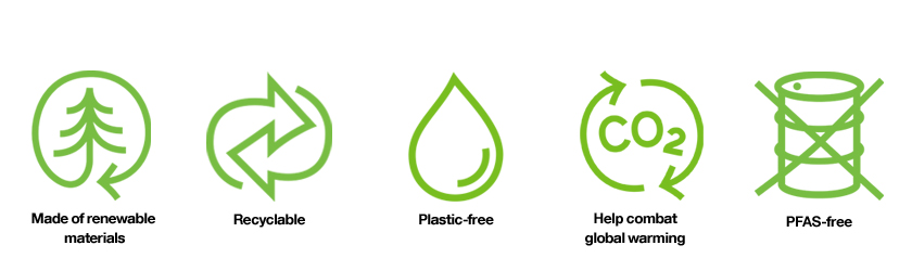 PureFiber™ by Stora Enso formed fiber products are made of renewable materials, recyclable, plastic-free and PFAS-free, and they help combat global warming with significantly lower CO2 footprint compared to the other alternative products on the market.